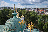View from the bell tower of the Monastery of the Transfiguration of the Saviour with spiked golden roof decoration, Yaroslavl, Russia, Europe