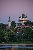 Resurrection Cathedral alongside the Volga river at dusk, Tutayev, near Yaroslavl, Russia, Europe