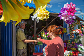 Artificial flowers for sale at a market stand, Uglich, Russia, Europe