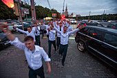 Young officers from a military school partying and celebrating their finals at Sparrow Hills, Moscow, Russia, Europe