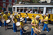 Marching band in the Alfama district to commemorate the Carnation Revolution on April 25, 1974, Lisbon, Lisboa, Portugal