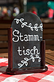 Stammtisch sign showing regulars table in a restaurant, Nuremberg, Franconia, Bavaria, Germany