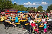 People enjoy entertainment at Fuerth Festival, Fuerth, Franconia, Bavaria, Germany