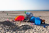 Beach chair on the beach, Spiekeroog Island, North Sea, East Frisian Islands, East Frisia, Lower Saxony, Germany, Europe