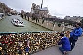 Love locks at Notre Dame, Ile de la Cite, Paris, France