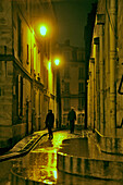 Illuminated street in St Etienne du Mont, Quartier Latin, Paris, France