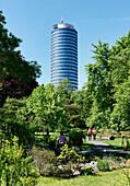 Botanic Garden with Jentower in the background, Jena, Thuringia, Germany