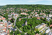 View from Jentower, Johannes Church and Friedenskirche, Jena, Thuringia, Germany