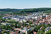 View from Jen tower showing industrial area and the companies Schott, Jenapharm and Carl Zeiss Jena, Jena, Thuringia, Germany