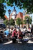 Cafe and City Hall on the market square, Jena, Thuringia, Germany