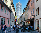 Cafe in the Wagnergasse, Jentower in the background, Jena, Thuringia, Germany