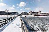 Pier with view of Spa in the Seaside Resort Binz, Island of Ruegen, Baltic Sea, Mecklenburg-Western Pomerania, Germany