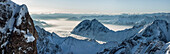 View from mount Zugspitze over Inn valley with Hohe Munde, Upper Bavaria, Bavaria, Germany