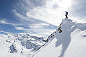 Skier in deep snow, Davos, Grisons, Switzerland