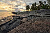 Sunset, Petroglyphs on the eastern shore of Lake Onega, The Republic of Karelia, Russia