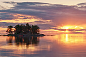 Sunset at lake Onega, The Republic of Karelia, Russia
