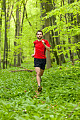 Young man jogging through a beech forest, National Park Hainich, Thuringia, Germany