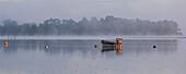 Fishing boat on Ria Etel in morning mist, Etel, Morbihan, Brittany, France