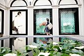 Woman window shopping, Via Montenapoleone, Golden Triangle, Milan, Lombardy, Italy