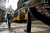 Tramway, Piazza Cordusio, Milan, Lombardy, Italy