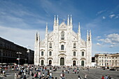 View over Piazza del Duomo to Milan Cathedral, Milan, Lombardy, Italy