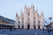 View over Piazza del Duomo to Milan Cathedral in the evening, Milan, Lombardy, Italy