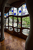 View through the windows of Casa Batllo,architect Antoni Gaudi,Passeig de Gracia,Barcelona,Spain