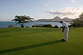 Golfer putting on the Green of Hole 11: Round the Bend at Le Touessrok Golf Course, Ile aux Cerfs Island, near Trou d'Eau Douce, Flacq District, Mauritius
