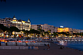 Luxury hotels and beach at dusk, Cannes, Provence, France