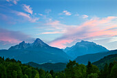 Watzmann and Hochkalter in the evening light, Berchtesgaden region, Berchtesgaden National Park, Upper Bavaria, Germany