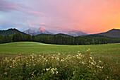 Thunder clouds above the Watzmann and Hochkalter mountains, Berchtesgaden region, Berchtesgaden National Park, Upper Bavaria, Germany