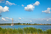 Sailing ship on the Achterwasser, near Neppermin, Usedom island, Baltic Sea, Mecklenburg Western-Pomerania, Germany