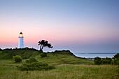 Lighthouse at the Dornbusch, Hiddensee island, National Park Vorpommersche Boddenlandschaft, Baltic Sea, Mecklenburg Western-Pomerania, Germany