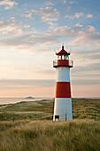 List Ost lighthouse, ferry to Romo island, Ellenbogen peninsula, Sylt island, North Sea, North Friesland, Schleswig-Holstein, Germany