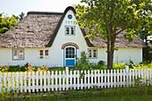Frisian house with thatched roof, Sueddorf, Amrum island, North Sea, North Friesland, Schleswig-Holstein, Germany