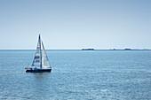Sailing boat in front of the Halligen, North Sea, North Friesland, Schleswig-Holstein, Germany