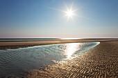 Sunset at Kniepsand, Amrum island, North Sea, North Friesland, Schleswig-Holstein, Germany