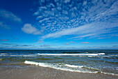 Clouds and waves on the beach near Kampen, Sylt island, North Sea, North Friesland, Schleswig-Holstein, Germany