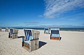 Beach chairs on the beach near Kampen, Sylt island, North Sea, North Friesland, Schleswig-Holstein, Germany