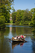 Boat trip on the lake, view to the temple of Venus, Woerlitz, UNESCO world heritage Garden Kingdom of Dessau-Woerlitz, Saxony-Anhalt, Germany