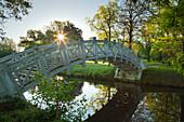 White bridge, Woerlitz, UNESCO world heritage Garden Kingdom of Dessau-Woerlitz, Saxony-Anhalt, Germany