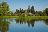 View over the lake to the temple of Flora, Woerlitz, UNESCO world heritage Garden Kingdom of Dessau-Woerlitz, Saxony-Anhalt, Germany