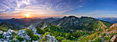 Panoramic view from Aiplspitz over mountain scenery, Bavarian Prealps, Upper Bavaria, Bavaria, Germany