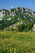 View to restaurant Sonnenalm and top station of Kampenwand cable car, Kampenwand, Chiemgau Alps, Chiemgau, Upper Bavaria, Bavaria, Germany