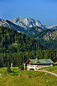 Alpine hut Schoenfeldalm in front of mount Guffert, Bavarian Alps, Upper Bavaria, Bavaria, Germany