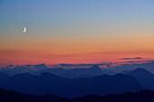 View from mount Stripsenkopf to Karwendel range, Guffert, Pendling and Veitsberg in the evening, Zahmer Kaiser, Kaiser mountain range, Tyrol, Austria