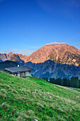 Alpine hut in front of Hundstod and Watzmann, Jenner, Berchtesgaden National Park, Berchtesgaden Alps, Upper Bavaria, Bavaria, Germany
