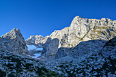Blaueis glacier and Hochkalter, Berchtesgaden National Park, Berchtesgaden Alps, Upper Bavaria, Bavaria, Germany