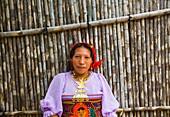Traditional jewelry, Kuna ethnic group village, San Blas archipelago, Kuna Yala Region, Panama, Central America, America