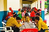 Kuna ethnic group village, Puberty party San Blas archipelago, Kuna Yala Region, Panama, Central America, America